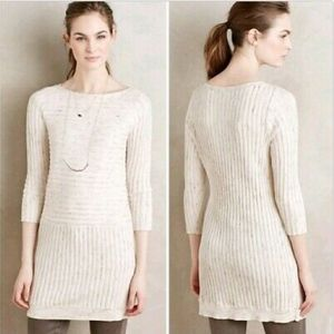 Anthropologie Moth Boat Neck Ribbed Sweater Dress